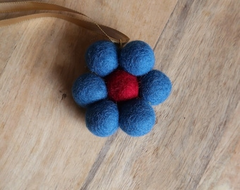 Fabulous Blue and Red Felt Wool and Wire Flower Pendant