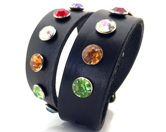 Black Leather Dog Collar with Jewel Tone Rhinestones, Size M, to fit a 14-17in Neck, Medium Dog, EcoFriendly, OOAK