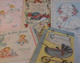 Vintage Baby girl congratulations  cards