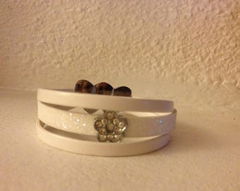 BRACELET 3 ROWS PAILLETE LEATHER AND SMOOTH WHITE