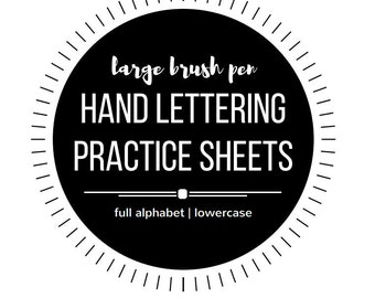 Large Hand Lettering Practice Sheets - Brush Pen - Brush Marker - Water Brush - Crayola - Hand Lettering Worksheets - Learn Hand Lettering