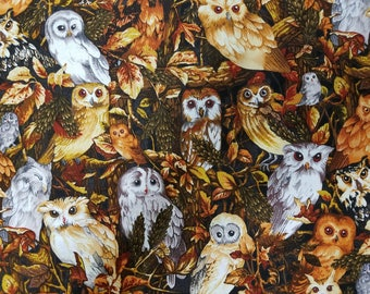 Harvest Owls Cotton Fabric Sold by the yard