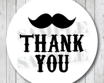 Mustache Thank You Stickers . Thank You Tags or Labels . Custom Colors