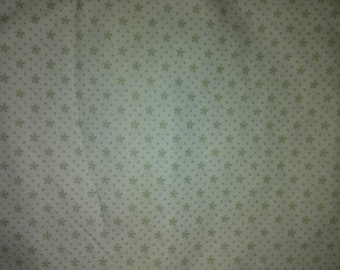 White cotton Fabric W/ Little Green Flowers