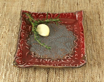 Garlic Plate, Pottery Garlic Grater Dish, Handmade Pottery Plate, Bread Plate, Dipping Dish, Foodie Gift, Chefs Gift, Housewarming Gift 701