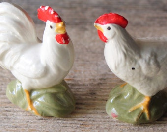 Miniature Rooster and Hen Chicken Figurines