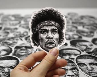 Scribbled Jimi Hendrix - Vinyl Sticker