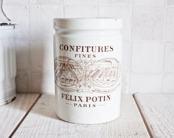 Antique French FELIX POTIN Stoneware Jam Jar || Pottery Storage - Ustensil Holder - Vintage Farmhouse Home Decor - Advertising Stoneware