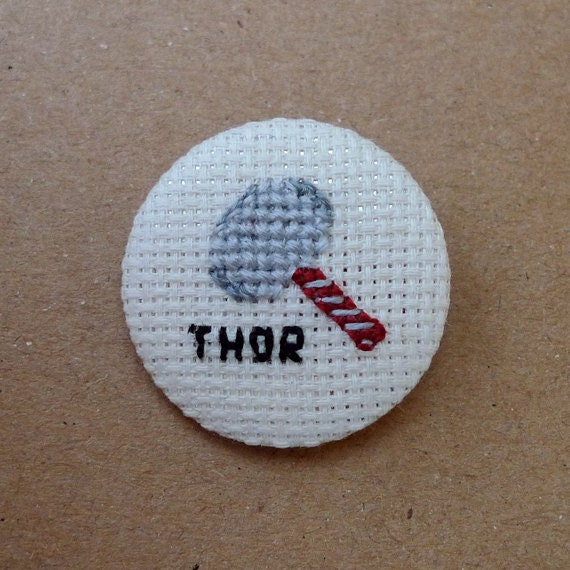 Thor cross stitch 31mm pinback button - Embroidered geek brooch