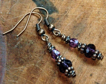 Amethyst Purple Glass Bead Earrings, Copper Accents, Gothic Renaissance, Delicate Earrings, Romantic Bohemian Style Accessories