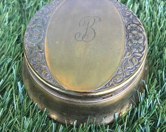 Antique Bronze Powder Box. Bronze Powder Box From The Early 1900's