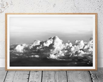 Clouds Panorama, Black and White Photography, Clouds, Landscape Print, Cloud Photography, Prints, Cloud Print, Wall Art, Large Poster, Cloud