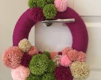 Handmade Pom Pom Summer Wreath/Ring