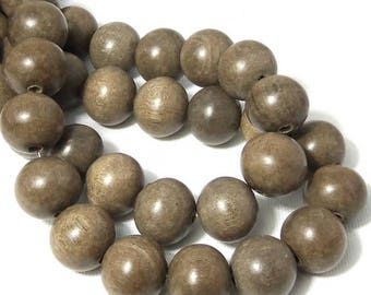 Graywood, 14mm - 15mm, Round,  Smooth, Large, Natural Wood Beads, 16 Inch Strand - ID 1457