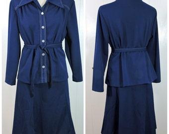 Vintage Ladies Blue Outfit / Blue Top and Skirt Set / Blue Vintage Belted Dress