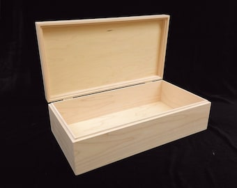 Unfinished  Wood Box w/ Hinges-13 3/4 x 7 1/4 x 4-unfinished wood box-ready to finish-engravable wood box-personalized laser engraving