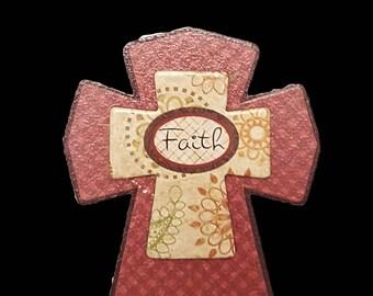 Faith Decorative Wooden Cross Magnet
