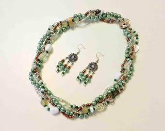 Necklace and Earrings in Greens and Whites With Abalone Cameo Clasp