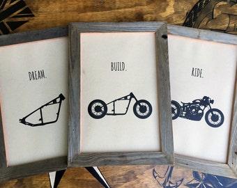Dream. Build. Ride. - Set of 3 Motorcycle Prints