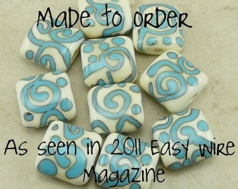 Turquoise on Ivory Zen Doodles featured in 2011 Easy Wire Magazine - Lampwork Bead Set - SRA - I ship Internationally