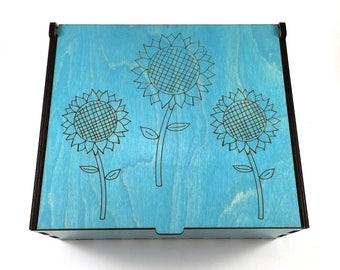 Sunflower Essential Oil Box, 42 Slots, Aromatherapy Storage Box, Floral Essential Oil Case, Aromatherapy Oil Organizer, Oil Display