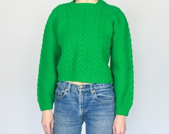 Vintage Grass Green Chunky Hand Knit Cropped Sweater