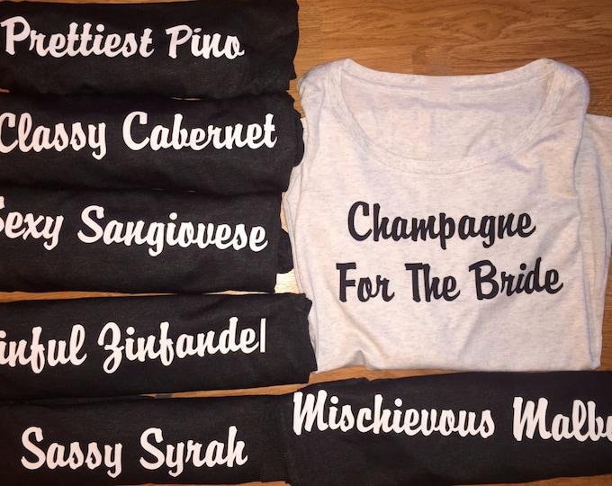 6 Bachelorette Party Shirts . Custom funny wine shirts . Ladies party t-shirts . Winery shirts . Wine saying shirts . Girls weekend shirts .