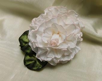 Sweet White Rose Ribbon Flower Ribbonwork Applique