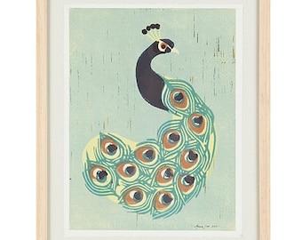 INDIAN PEACOCK Poster Size Linocut Reproduction Art Print: 8 x 10, 9 x 12, 11 x 14, 12 x 16