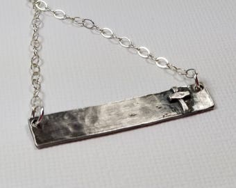 Silver Bar Necklace Rustic Cross Pendant Blackened Sterling Silver Cross Boho Christian Faith Jewelry Easter Gift for Her by Maggie McMane
