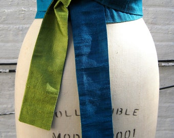 Turquoise & Chartreuse Reversible Silk Shantung Obi Sash