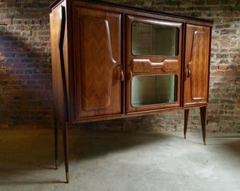 Italian Walnut Bar Cabinet By Dassi Vintage Circa 1950's Mid Century