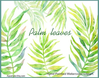 Watercolor clipart Palm Leaves - commercial use clipart green leaves clipart palm leaf floral clipart wedding clip art greenery png set