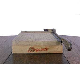 Vintage Paper Cutter Ingento No.2 Wood and Steel Paper Trimmer - Great for Home Office Use - Vintage Office Decor by Ideal School Supply Co.