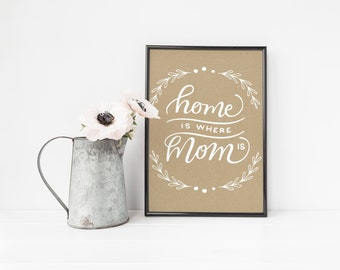 Mom Wall Art Printable, Mother's Day Gift, Mother Wall Art, Mom Print | Home Is Where Mom  Instant Download | 8x10"