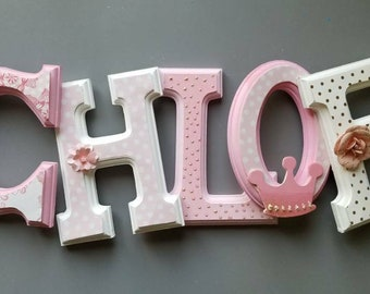 Wooden wall letters personalized 6 inch 15 cm