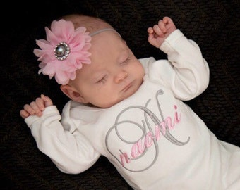 Newborn Girl Outfit Baby Girl Coming Home Outfit Personalized Baby Girl Clothes Newborn Baby Shower Gift Pink Gray Baby Hospital Outfit