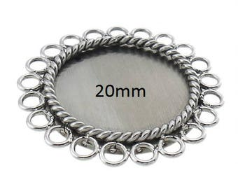 1 Piece Stainless Steel 20mm Rope Flower Cabochon Setting