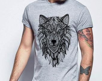 Wolf Print T-shirt, Wolf Tshirt, DTG Printed Tshirt, Wolf Illustration, Ornate Wolf, Ornate Wolf Tshirt, Mens Tshirt, Wolf Tee, Tee shirt