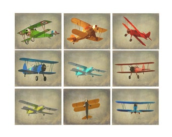 Vintage Airplane Photography, Antique Plane Art, Airplane Nursery, Boy Wall Art, Plane Decor, Biplane Art, Military Plane, War Plane, Gift