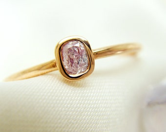 18K  Rose Gold Fancy Pink Diamond Ring,solitaire  ring promise