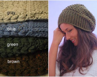 Green crochet beanie hat, chunky slouchy winter hat, merino wool soft beanie, women accessories - in stock
