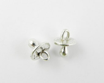 20 Pacifier Charms in Antique Silver ~ 13mm x 10mm x 10mm - 3D - Baby Binky