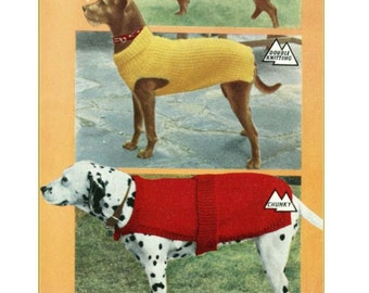 Knitting Pattern - Vintage pattern DOG COATS 3 styles and 3 sizes