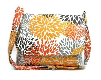 Floral Cross Body Bag, Fabric Pocketbook, Cotton Purse, Women's Messenger Bag, Premier Prints Blooms Slub Chili Pepper, Gray Orange Bag