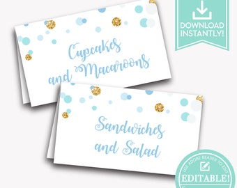 Birthday Party Place Cards Blue / Buffet Cards Printable / Food Tent Cards Girl Party / Baby Shower Place Cards / Instant Download / LR2015