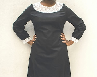 Black cotton and white lace Midi dress,lined size 16 Plus size