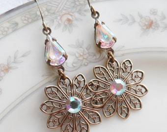 Sale- AB Swarovski Crystal - Vintage Glass Teardrop Earring, Antique Brass