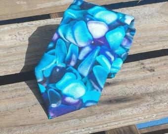 Blue Seaglass Necktie, Beach Comber Necktie, Sea Glass Necktie, Blue Necktie, Fun Necktie, Summertime Necktie