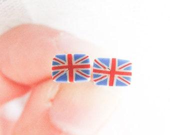 Union Jack Earrings, England Studs, UK Flag Studs, Union Jack Flag Jewelry